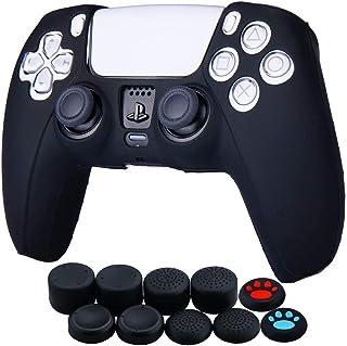 Funda de piel de silicona para Sony PS5 Dualsense Controller x 1 (negro) con agarres para el pulgar x 10