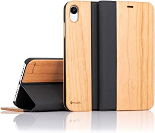 NALIA Wood Flip Case Compatible with Apple iPhone XR, Handmade Leatherette Wallet Smart-Phone Book Cover Slim Back & Front Protector, Full-Body Shockproof Bumper with Card Slots, Color:Cherry Wood