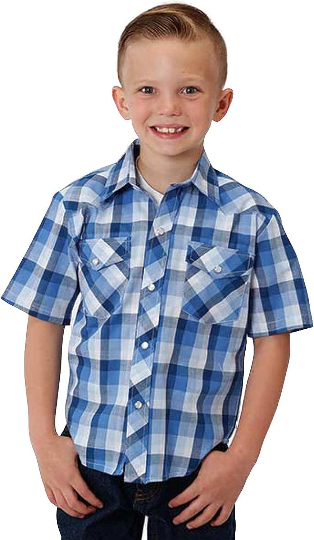 Roper Boys' Classic Multi Plaid Short Sleeve Western Shirt - 01-031-0101-3022 Bu