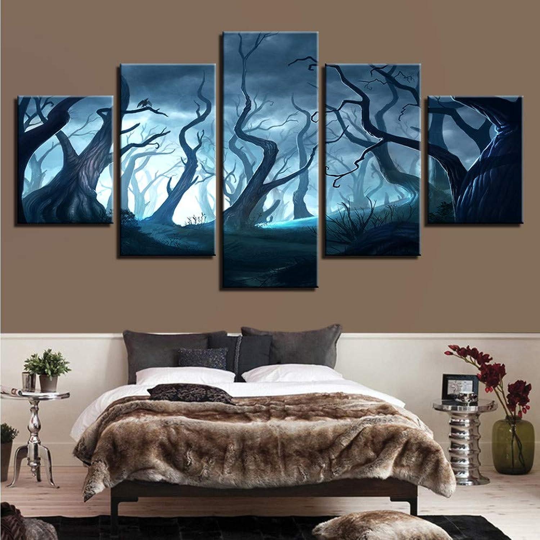 Disfruta de un 50% de descuento. Meaosy Pintura de de de la lona Modular HD Imprime Wall Art Frame 5 Unidades Fantasía Bosque Muerto Noche Con árboles Imágenes Salón Decoración Cartel-20x35 45 55cm  selección larga