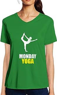 Pooplu Womens Monday Yoga Cotton Printed V Neck Half Sleeves Multicolour Tshirt. Exercise & Gym, Symbol Tshirt