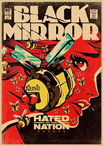 H/E Cartel Retro De Espejo Negro De Película Clásica Mural De Decoración De Barra De Hogar Marco50X60Cm G3647