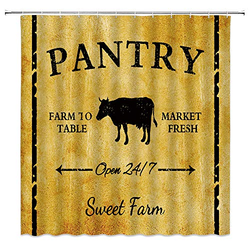 Vintage Farmhouse Shower Curtain Western Sweet Farm Animals Cow Retro Pantry Farm to Rable Market Fresh Feed Countryside Village Rural Life Cattle Fabric Bathroom Curtain Set 70x70 INCH with Hooks