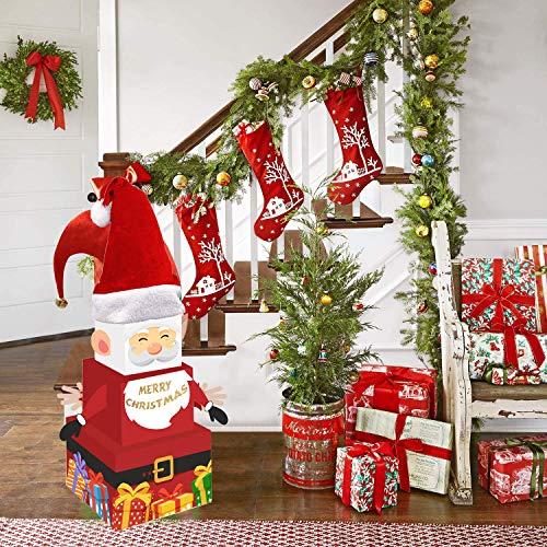 Scatole regalo con Babbo Natale e cappello, scatole regalo per Natale, per albero di Natale, per casa, ufficio, decorazione da tavolo invernale