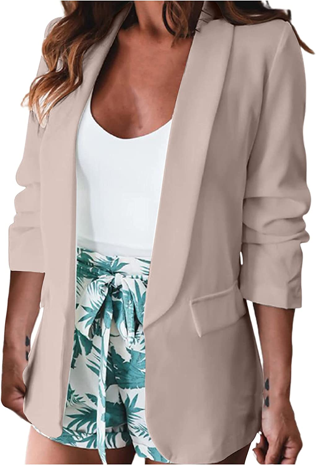 Women's Blazers Tops Workout Fall Long Sleeve Notched Sexy Casual Coat with Pockets Solid Color/Floral Print Cardigan