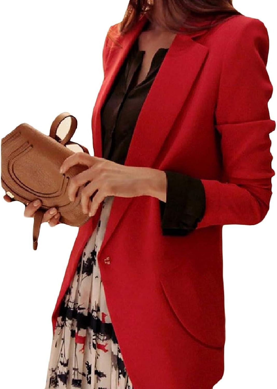 Winme Women Lapel PlusSize MidLong Pocket Slim Solid Blazer Coats
