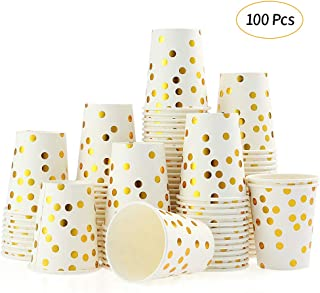 Disposable Paper Cups Esonmus 100pcs/set 9 oz Gold Dot Stamped Party Cups Set of 100pcs Paper Cup Golden Polka Dot Disposable Cups Disposable Beverage Cups