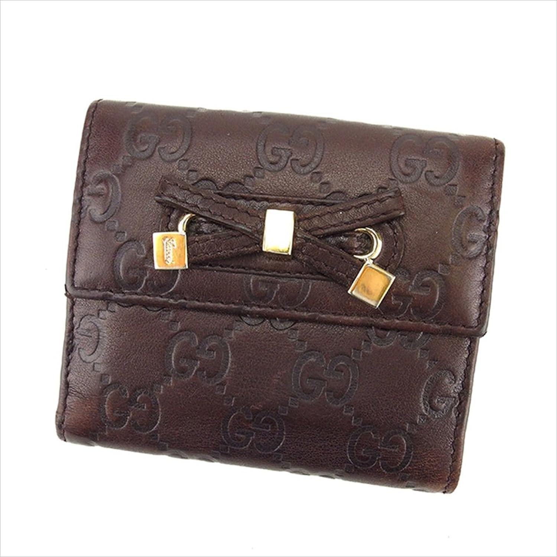 (グッチ) Gucci Wホック財布 二つ折り財布 ブラウン×ゴールド リボンモチーフ グッチシマ レディース 中古 A1345