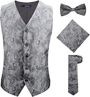 silver vest and bow tie