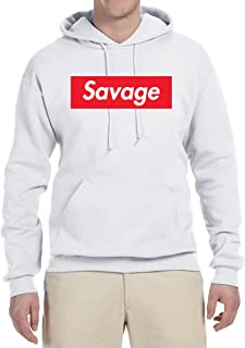 Savage Red Box Logo Parody | Mens Streetwear Hooded Sweatshirt Graphic Hoodie
