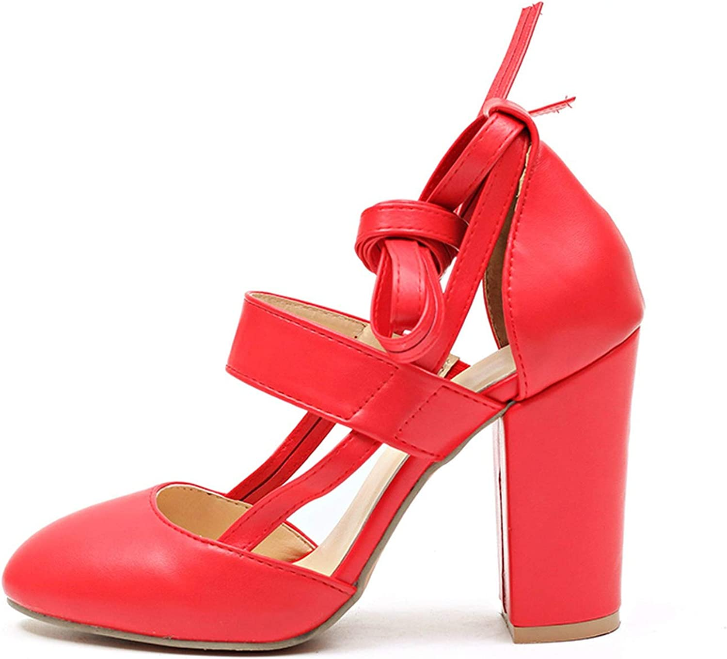 Plus Size Female Ankle Strap High Heels Flock shoes Thick Heel,Red-D2314,6