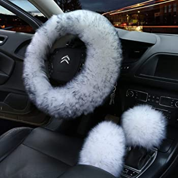 MRTIOO 3D Texture Fuzzy Fluffy Steering Wheel Cover for Women and Men Vans Soft Warm Hands Universal 15 Inch Trucks Cars A-Grey sedans Fit Suvs