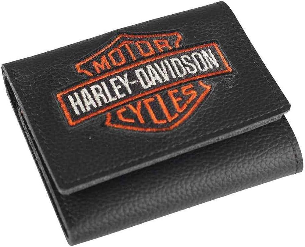 Harley-Davidson Men's Embroidered Bar & Shield Tri-Fold Wallet, XML4363-ORGBLK