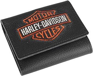 386f93539fee Harley-Davidson Men's Embroidered Bar & Shield Tri-Fold Wallet,  XML4363-ORGBLK