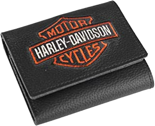 Men's Embroidered Bar & Shield Tri-Fold Wallet, XML4363-ORGBLK
