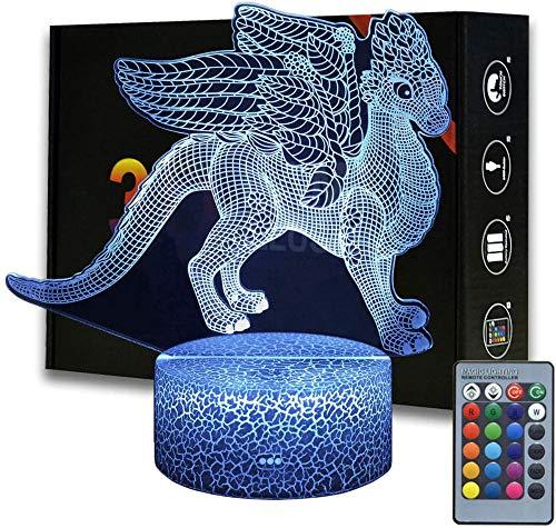 Luz nocturna 3D para niños, lámpara de ilusión 3D, flores, dragón, 16 colores y control remoto táctil, mesita de noche de mesa, regalos de iluminación, juguetes de niñas niños para cumpleaños