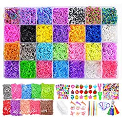 20000+ Rainbow Rubber Bands Refill Kits, 19000 Rubber Bands for bracelets, 600 Clips + 230+ Beads +56 ABC Beads + 54 Charms + 12 Backpack Hooks + 10 Crochet Hooks + 10 Rings + 5 Hair Clips + 5 Tassels