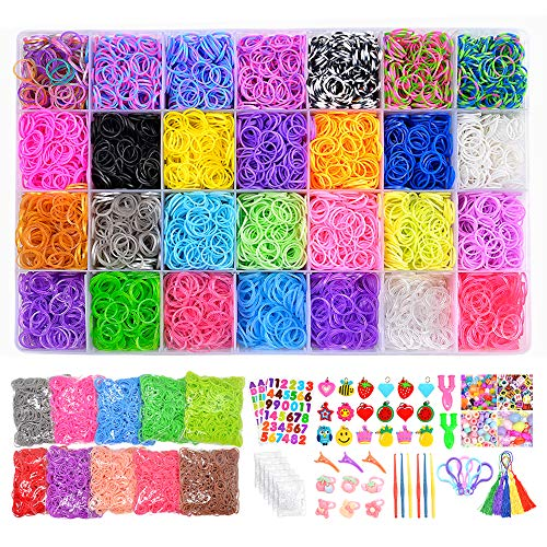 VICOVI 20000+ Rubber Bands Refill Kits, 19000 Rubber Bands for Bracelets, 600 Clips + 280+ Beads + 54 Charms + 12 Backpack Hooks + 10 Crochet Hooks + 10 Rings + 5 Hair Clips + 5 Tassels