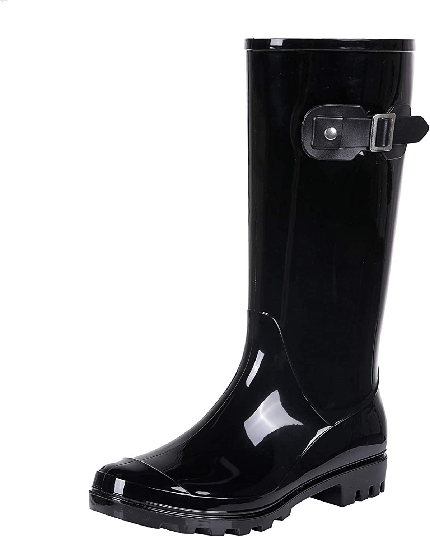 Women's Knee High Rain Boots - Narrow Calf - Fashion Waterproof Tall Wellies Rain Shoes