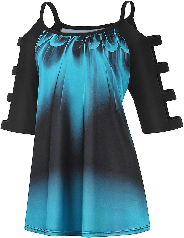 Plus Size Tops For Women Cutout Cold Shoulder Blouse Strapless Letter T-Shirt Loose Tunic Blouse