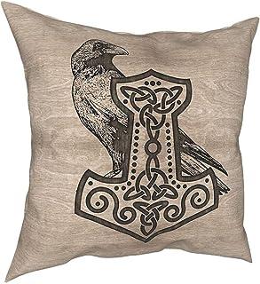 Mjölnir ThrowPillowCovers,Vikings 3D Polyester Home Decor Pillowcases Norse Myth Art Gift Cushion Cover,Brown,20x20Inch