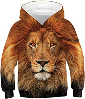 Huashao Kids Boys Girls Realistic 3D Digital Print Pullover Novelty Hoodie Long Sleeve Hooded Sweatshirt with Pocket Lion for 6-16 Years