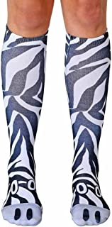 Animal Print Novelty Knee High Socks by Living Royal (ZEBRA),One Size Fits Most