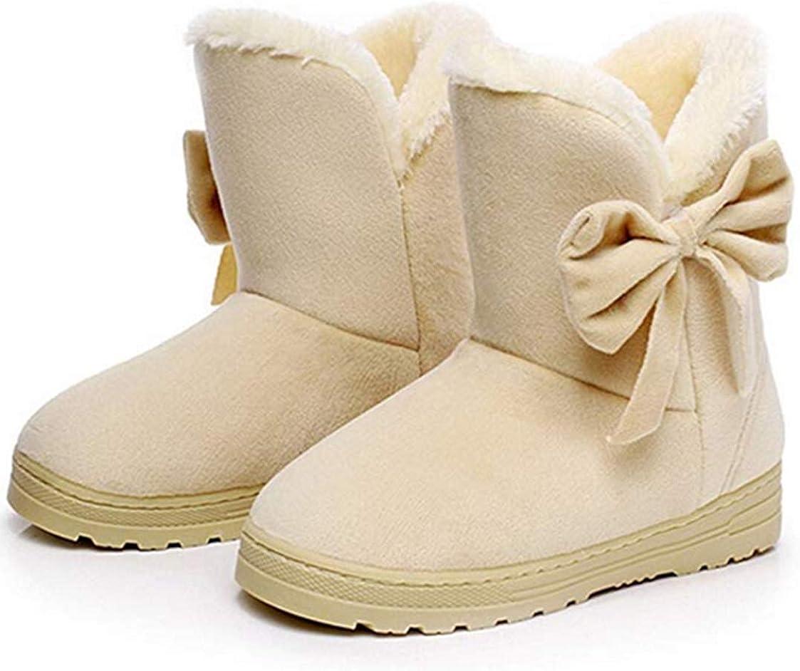 LFHT Women's Winter Suede Snow Ankle Boots Faux Fur Flat Warm Shoes