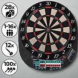 Physionics Jeu de Fléchettes Électronique - 28 Jeux (Beaucoup de Variations), inc. 12 Fléchettes et 100 Pointes de Rechange - LCD Cible de Fléchettes, Dartboard, Darts