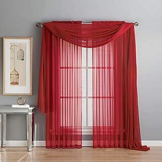Diamond Linen Beautiful Elegant Sheer Voile Window Treatment Rod Pocket 2 PC Curtain Elegant Panels for Bedroom Many Color...