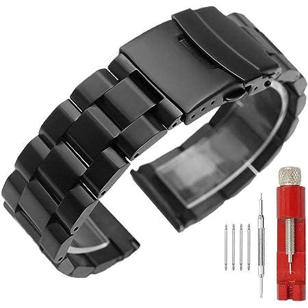 Correa de reloj de acero inoxidable con doble cierre sólido, acabado cepillado, pulsera de metal para hombres y mujeres, 18 mm, 20 mm, 22 mm, 24 mm, color negro y plateado