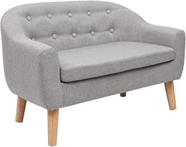 JOYMOR Kids Sofa, 2 Seats Linen Fabric Upholstered Chair Armrest Couch for Preschool Kids Toddlers Ideal Children Gift (Grey)