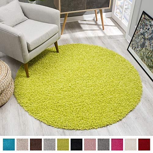 SANAT Teppich Rund - Hellgrün Hochflor, Langflor Modern Teppiche fürs Wohnzimmer, Schlafzimmer, Esszimmer oder Kinderzimmer, Größe: 150x150 cm
