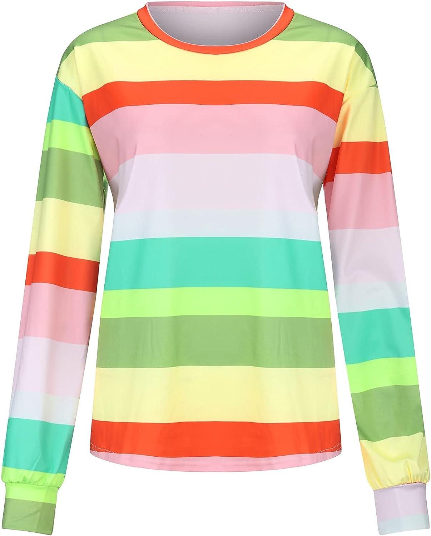 NEEKEY T Shirts for Popular standard Womens Casual Striped trust Pattern Neck Pri Round