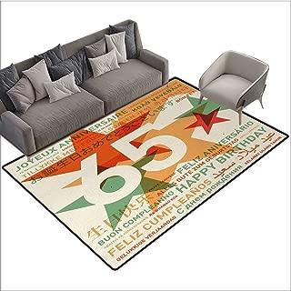 65th Birthday Home Custom Floor mat Happy Birthday in Languages French Italian Worldwide Universal Celebration 70