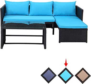 GREARDEN Outdoor Furniture Patio Sets 3 Pieces-Small Patio Wicker Rattan Sofa with Glass Coffee Table