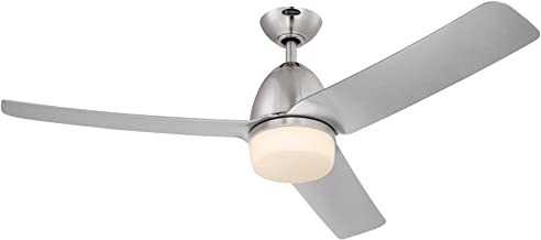 Westinghouse Lighting 7800100 Delancey Two 52-Inch Brushed Chrome Indoor DC Motor Ceiling Fan, Light Kit with Opal Frosted Glass, Remote Control Included, Finish