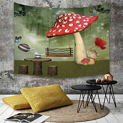 Tapestry Wall Hanging,Mushroom,Picnic in Fantasy Garden Wood Table Poppy Flower Swing Teapot and Milk Splash Decorative,Multicolor,,Home Decor Art Tapestries for Bedroom Living Room Dorm Apartment