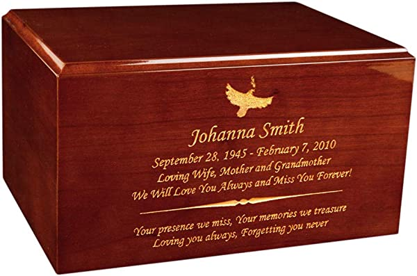 Perfect Memorials Custom Engraved Large Timeless Honey Oak Cremation Urn