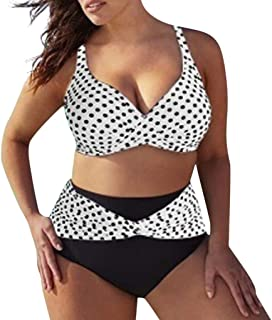 Bañador Lunares para Mujer Moda Sexy Cuello En V Bikini Tankini Cintura Alta Slim Fit Traje De Baño De Dos Piezas Ropa De Playa