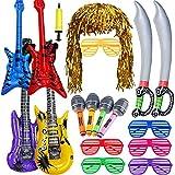 Juguetes Cumpleaños Infantiles Niños-Juguete de Instrumentos Guitarra, Saxofón, Beth, Espada Pirata de Inflable, Peluca de Espuma, Gafas, Bomba Manual para Decoración de Parte Prop(Color Aleatorio)
