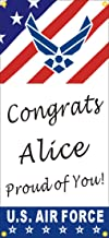 [Vinyl] Alice Graphics 22inX48in Custom Personalized US Air Force Congrats (Congratulations) Basic Military Training (BMT) Graduation Banner Sign (V)