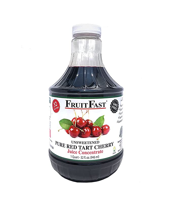 100% Pure Red Tart Cherry Juice Concentrate by FruitFast - Brownwood Acres | Unsweetend, Non-GMO, Gluten Free, Kosher Certified Dark Cherry Extract - Promotes Joint Health and Helps Maintains Sleep Cycles (32 Ounce)