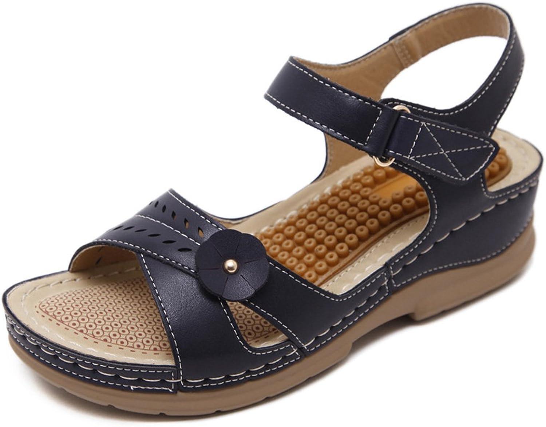 Kyle Walsh Pa Flat Sandals for Women,Sweet Bohemia Flower Velcro Anti-Skid Peep-Toe Platform shoes Beige