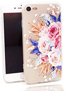 LEMONCOVER iPhone 8 Case,iPhone 7 Case,Tropical Colorful Flower Printed Slim Fit Case for Girls Soft Bumper Shockproof Matte Back Cover Pink Rose Design for iPhone 8 iPhone 7 Blossom