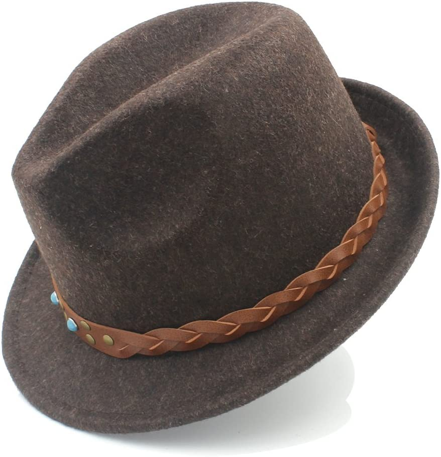GR Sombrero Trilby Church Derby Cloche Top Cap with Fashion Leather Pure Wool Women Men Chapeau Femme Fedora Hat for Gentleman (Color : Coffee, Size : 57-58cm)
