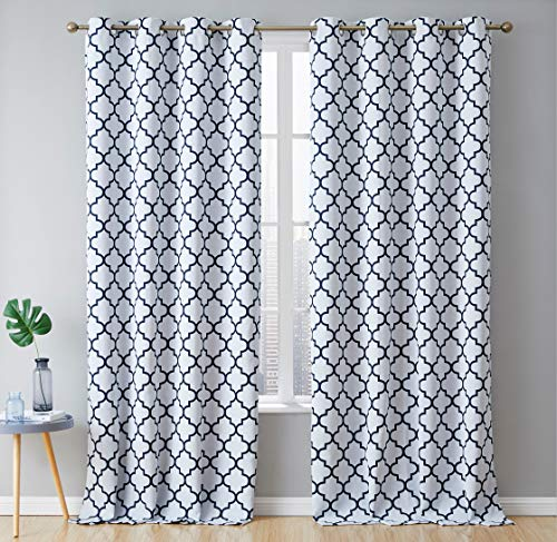 HLC.ME Lattice Print Winter Heat Cooling Thermal Insulated Blackout Room Darkening Window Grommet Drapery Curtains for Bedroom and Living Room, Platinum White & Navy Blue - 52 W x 84 L - 2 Panels