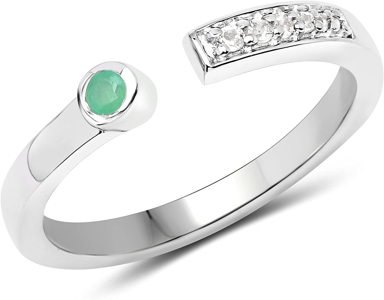 LoveHuang service 0.07 Carats Genuine Emerald Topaz 2021 spring and summer new White and Stacking R