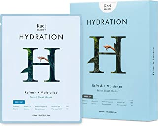 Rael Hydro Lock Face Mask Sheet (Hydration) Moisturizing Face Mask For Dewy, Hydrating, And Glowing Skin, Best For Dry Skin, 5 Sheet