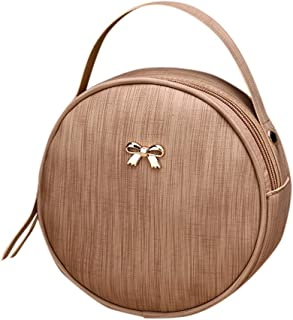Ultramall Fashion Women's Solid Color Trend Round Large Capacity Zipper Leather Shoulder Bag Messenger Bag For Women